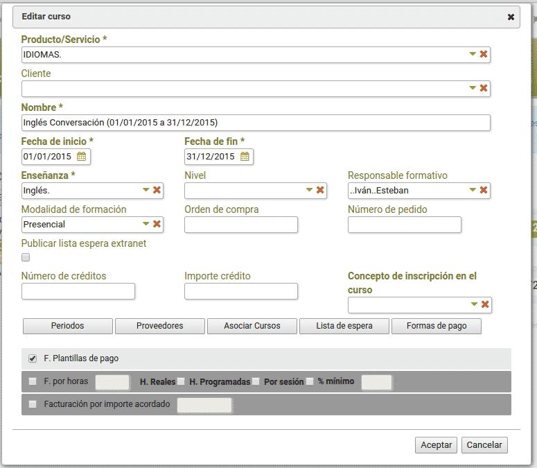 Matricular alumnos por bonos de clases - Ender, Factoría de Software