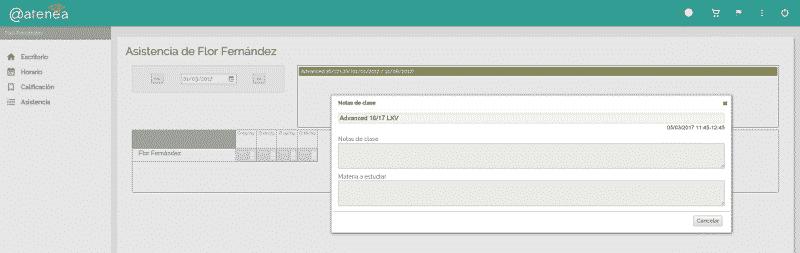 extranet para alumnos - Atenea, software de gestión online academias