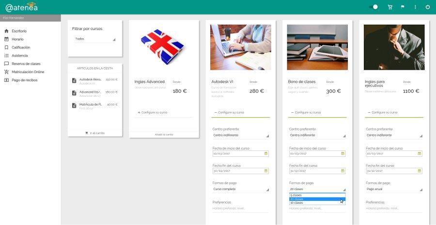 Matricular alumnos online - Atenea, software de gestión online