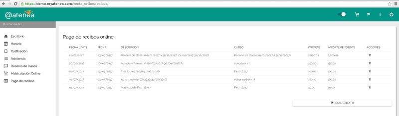 pago de recibos online - Atenea, gestión de academias online